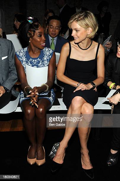 Recording artist Estelle and model Jessica Stam attend the Fallon fashion show during MercedesBenz Fashion Week Spring 2014 at 82 Mercer on September...