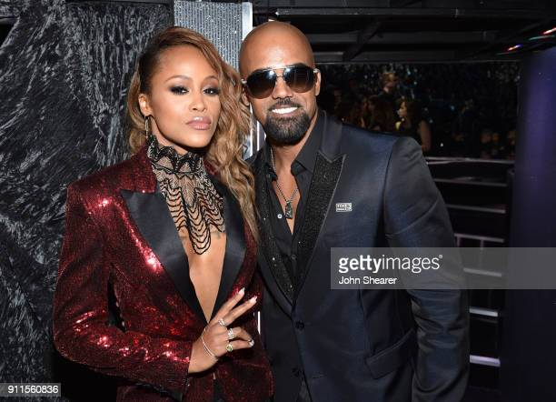 Recording artist Eve and actor Shamar Moore attend the 60th Annual GRAMMY Awards at Madison Square Garden on January 28 2018 in New York City