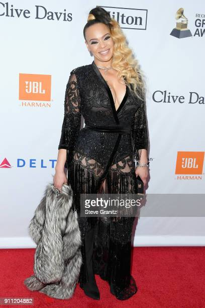 Recording artist Faith Evans attends the Clive Davis and Recording Academy PreGRAMMY Gala and GRAMMY Salute to Industry Icons Honoring JayZ on...
