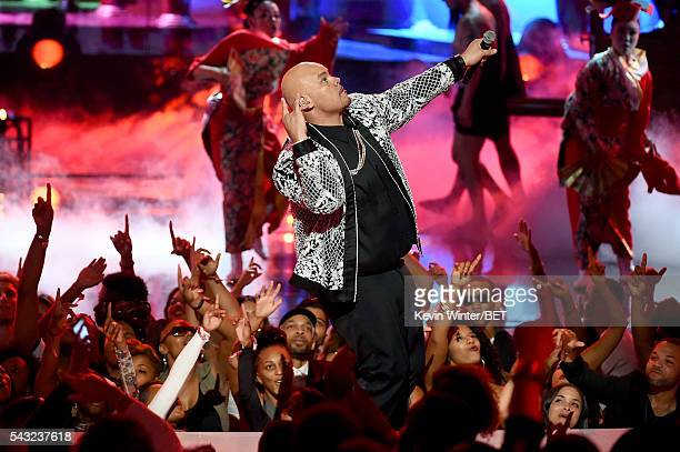 6573ffe3dd6d55 Recording artist Fat Joe peforms onstage during the 2016 BET Awards at the  Microsoft Theater on