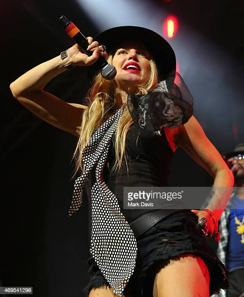 Recording artist Fergie of The Black Eyed Peas performs onstage with David Guetta during day 3 of the 2015 Coachella Valley Music Arts Festival at...