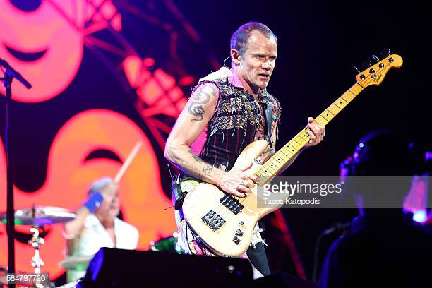 Recording artist Flea of Red Hot Chili Peppers performs on the Samsung Stage at Lollapalooza 2016 Day 3 at Grant Park on July 30 2016 in Chicago...