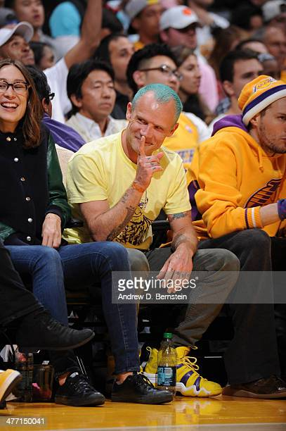 Recording artist Flea of the Red Hot Chili Peppers looks on during a game between the Los Angeles Clippers and the Los Angeles Lakers at Staples...