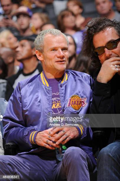 Recording artist Flea of the Red Hot Chili Peppers looks on during a game between the Memphis Grizzlies and the Los Angeles Lakers at Staples Center...