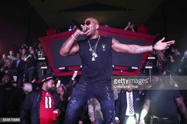 Recording artist Flo Rida performs onstage during the Playboy party with TAO at Spire Nightclub on February 4 2017 in Houston Texas