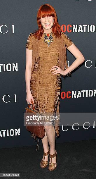 Recording artist Florence Welch arrives at the Gucci and RocNation Pre-GRAMMY Brunch at the Soho House on February 12, 2011 in Los Angeles,...