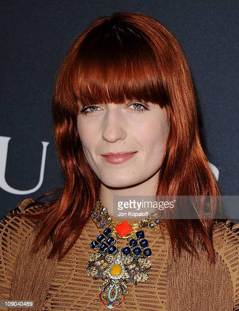 Recording Artist Florence Welch of Florence and the Machine arrives at the Gucci And RocNation Host PreGrammy Brunch At Soho House at Soho House on...