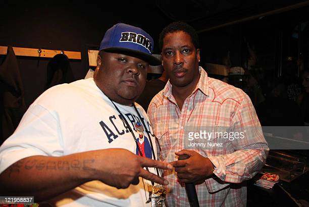 Recording artist Fred The Godson and talent manager Shawn Grey attend Celebrity Tuesday at Sue's Rendezvous on August 23, 2011 in Mount Vernon, New...