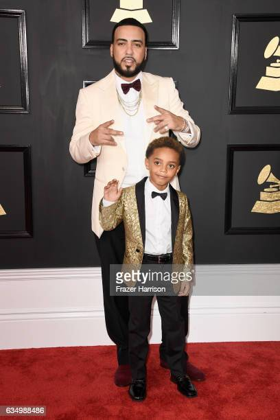 Recording artist French Montana and Kruz Montana attend The 59th GRAMMY Awards at STAPLES Center on February 12 2017 in Los Angeles California