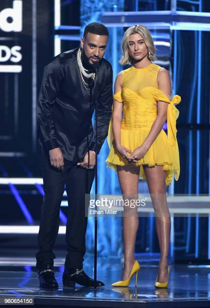 Recording artist French Montana and Model Hailey Baldwin onstage during the 2018 Billboard Music Awards at MGM Grand Garden Arena on May 20 2018 in...