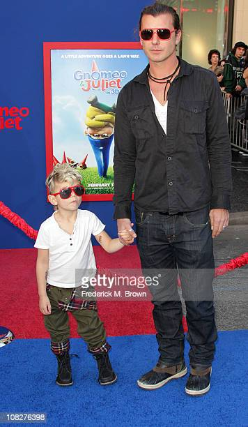 Recording artist Gavin Rossdale and his son attend the premiere of Touchstone Pictures' 'Gnomeo and Juliet' at the El Capitan Theatre on January 23...