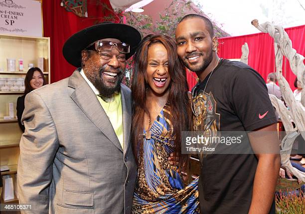 Recording artist George Clinton, Bobbi Kristina Brown and Nick Gordon attend the GRAMMY Gift Lounge during the 56th Grammy Awards at Staples Center...