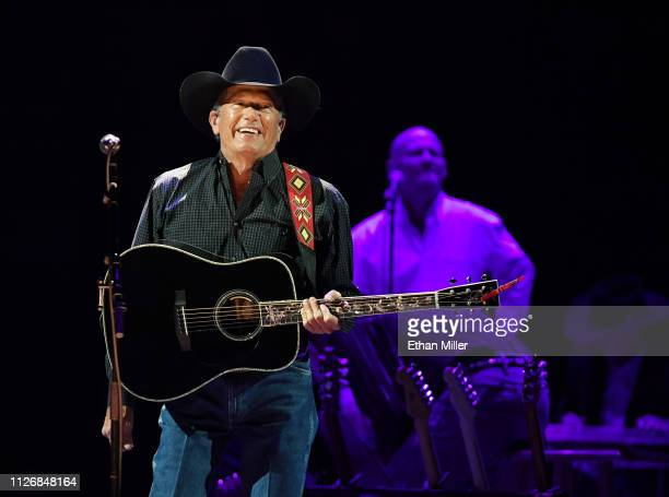 Recording artist George Strait performs as part of his Strait to Vegas engagements at TMobile Arena on February 01 2019 in Las Vegas Nevada