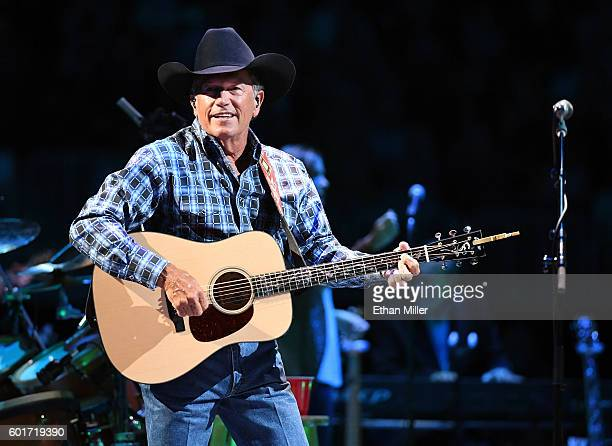 Recording artist George Strait performs during one of his exclusive worldwide engagements Strait to Vegas at TMobile Arena on September 9 2016 in Las...