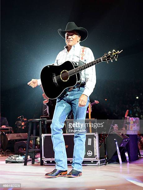 Recording artist George Strait performs during The Cowboy Rides Away Tour at the MGM Grand Garden Arena on February 1 2014 in Las Vegas Nevada
