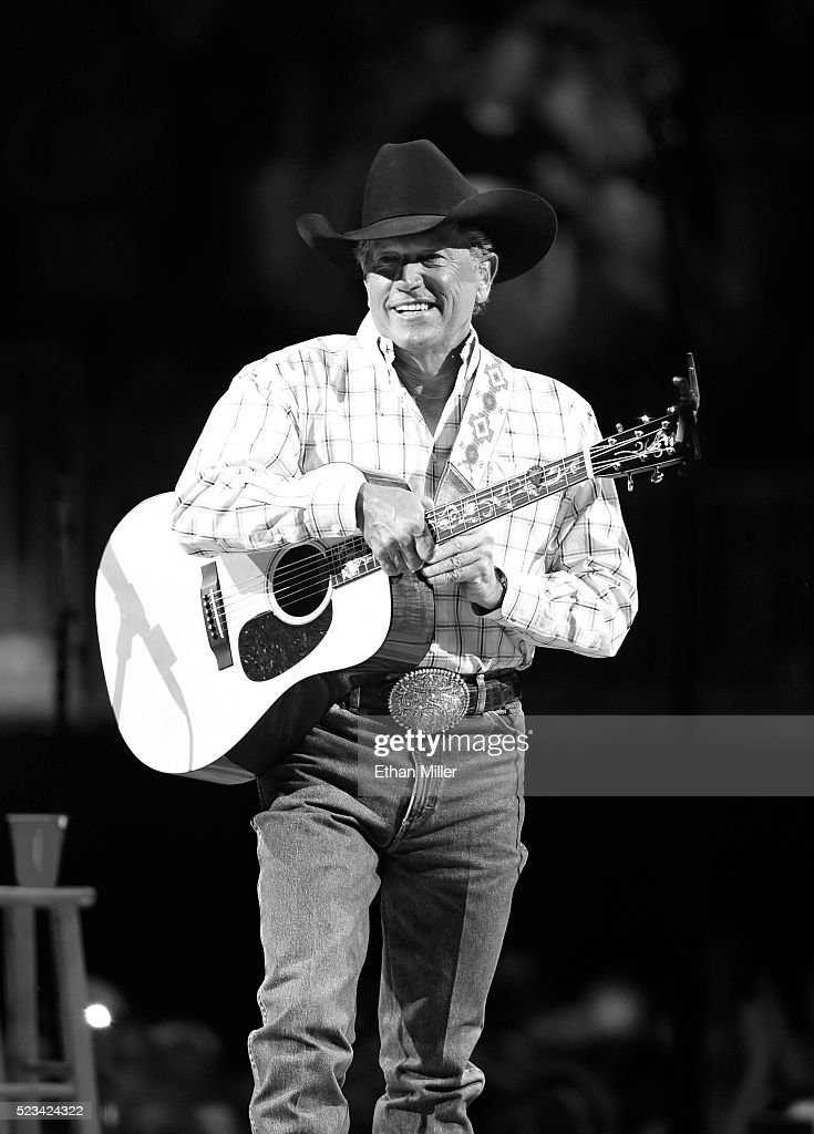 Image was processed using digital filters) Recording artist George Strait performs during the first of his 'Strait to Vegas' shows at T-Mobile Arena on April 22, 2016 in Las Vegas, Nevada.