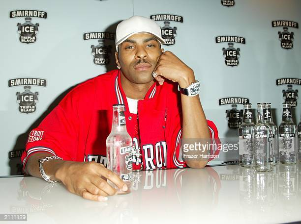 Recording artist Ginuwine poses at the Smirnoff Ice Triple Black Lounge during the 3rd Annual BET Awards where Distinctive Assets gave gifts to the...