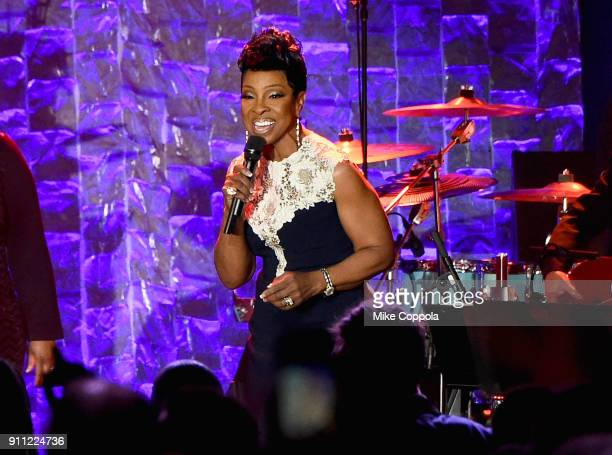 Recording artist Gladys Knight performs onstage during the Clive Davis and Recording Academy PreGRAMMY Gala and GRAMMY Salute to Industry Icons...