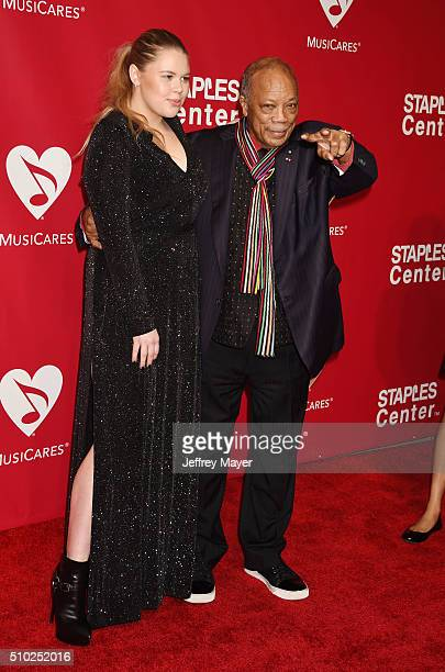 Recording artist Grace and music producer Quincy Jones attend the 2016 MusiCares Person of the Year honoring Lionel Richie at the Los Angeles...