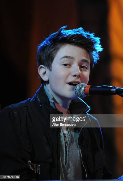 Recording artist Greyson Chance performs at the SchoolJam USA Live competition at Downtown Disney District at Disneyland Resort on January 21 2012 in...