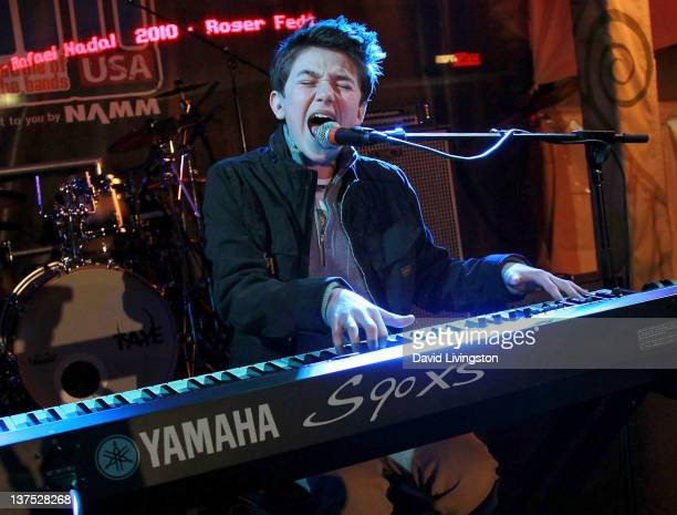 Recording artist Greyson Chance performs on stage at NAMM's SchoolJam USA Finals at Downtown Disney on January 21 2012 in Anaheim California