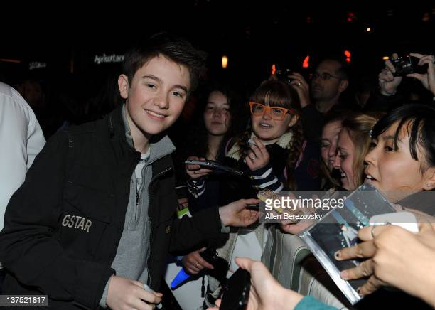 Recording artist Greyson Chance signs autographs for fans at the SchoolJam USA Live competition at Downtown Disney District at Disneyland Resort on...