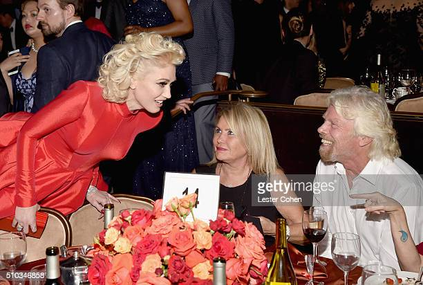 Recording artist Gwen Stefani Business magnate Richard Branson and Joan Templeman attend the 2016 PreGRAMMY Gala and Salute to Industry Icons...
