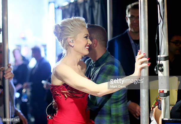 Recording artist Gwen Stefani prepares backstage at The 57th Annual GRAMMY Awards at STAPLES Center on February 8 2015 in Los Angeles California