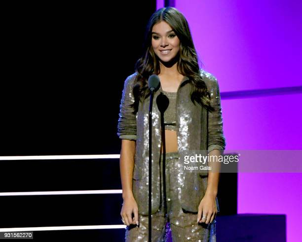 Recording artist Hailee Steinfeld speaks onstage during 60th Annual GRAMMY Awards I'm Still Standing A GRAMMY Salute To Elton John at the Theater at...