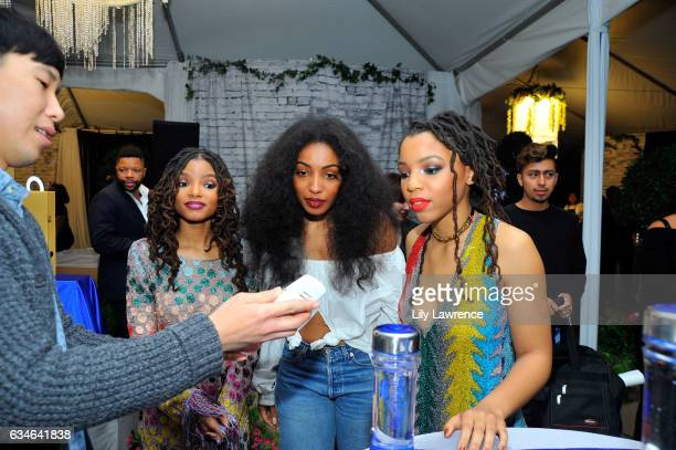 Recording artist Halle Bailey, Diana Gordon and Chloe Bailey attend GRAMMY Gift Lounge during the 59th GRAMMY Awards at STAPLES Center on February...