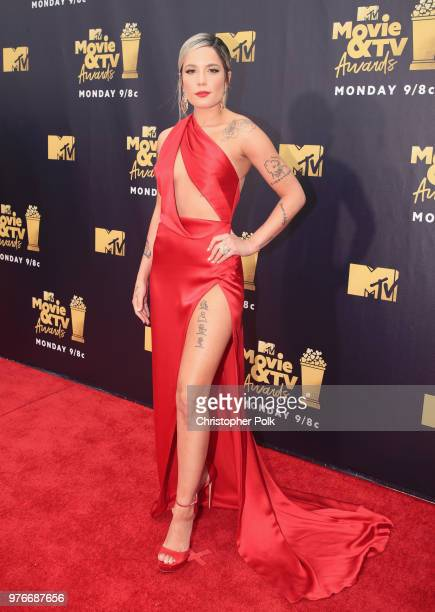 Recording artist Halsey attends the 2018 MTV Movie And TV Awards at Barker Hangar on June 16 2018 in Santa Monica California