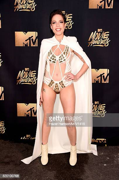 Recording artist Halsey poses backstage at the 2016 MTV Movie Awards at Warner Bros Studios on April 9 2016 in Burbank California MTV Movie Awards...