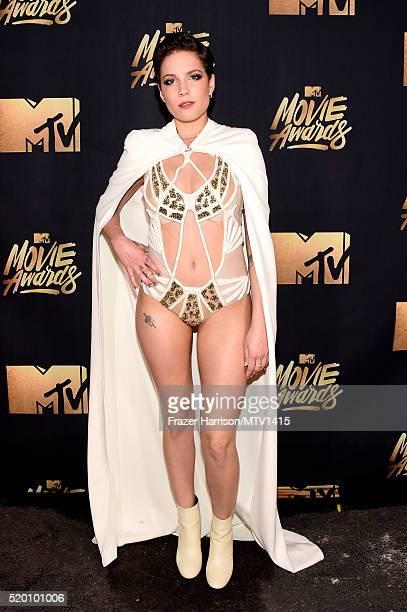 Recording artist Halsey poses backstage at the 2016 MTV Movie Awards at Warner Bros Studios on April 9 2016 in Burbank California MTV Movie Awards...