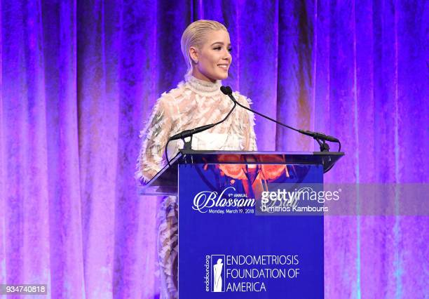 Recording artist Halsey speaks on stage during the Endometriosis Foundation of America's 9th Annual Blossom Ball at Cipriani 42nd Street on March 19...