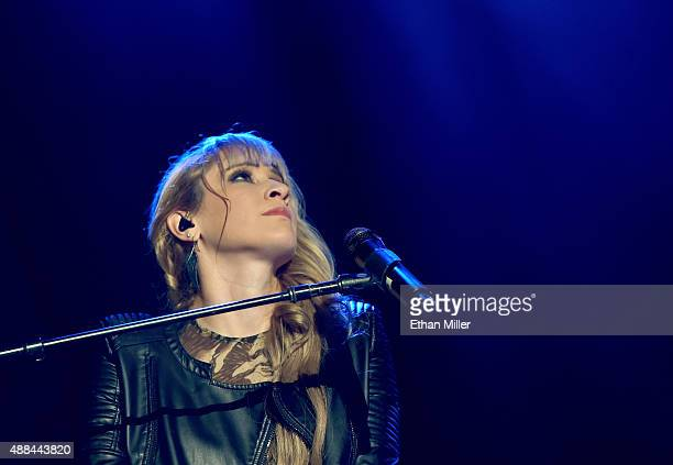 Recording artist Hanna Nicole Perez Mosa of Ha*Ash performs as the pop duo opens for Ricky Martin during the kickoff of his One World Tour at Axis at...