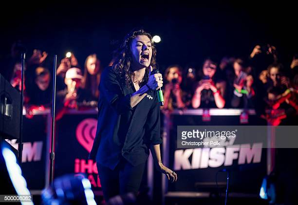 Recording artist Harry Styles of music group One Direction performs onstage during 1027 KIIS FM's Jingle Ball 2015 Presented by Capital One at...