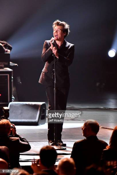 Recording artist Harry Styles performs onstage during MusiCares Person of the Year honoring Fleetwood Mac at Radio City Music Hall on January 26 2018...