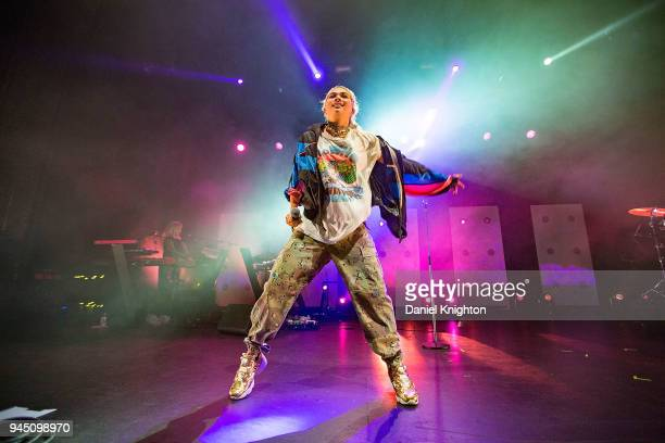 Recording artist Hayley Kiyoko performs on stage to a soldout crowd during opening night of her 'Expectations' tour at The Observatory North Park on...
