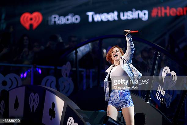 Recording artist Hayley Williams of the music group Paramore performs onstage during the 2014 iHeartRadio Music Festival at the MGM Grand Garden...