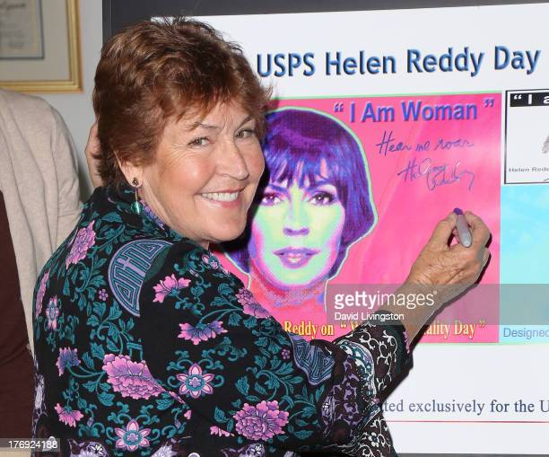 Recording artist Helen Reddy attends the unveiling of the new United States Postal Service special pictorial postmark featuring Helen Reddy on August...
