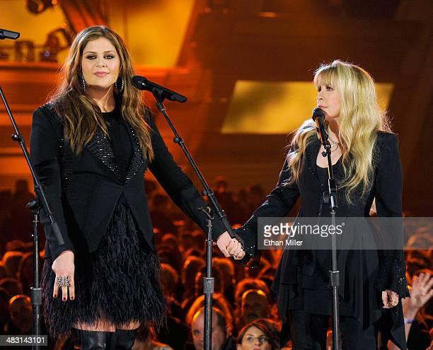Recording artist Hillary Scott of Lady Antebellum and singer Stevie Nicks perform onstage during the 49th Annual Academy of Country Music Awards at...