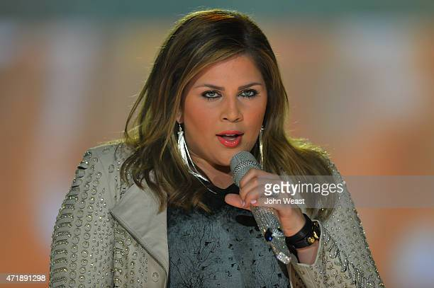 """Recording artist Hillary Scott of the country music band Lady Antebellum performs live on stage during their """"Wheels Up"""" tour at United Supermarkets..."""