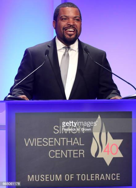 Recording artist Ice Cube speaks onstage at The Simon Wiesenthal Center's 2017 National Tribute Dinner at The Beverly Hilton Hotel on April 5 2017 in...