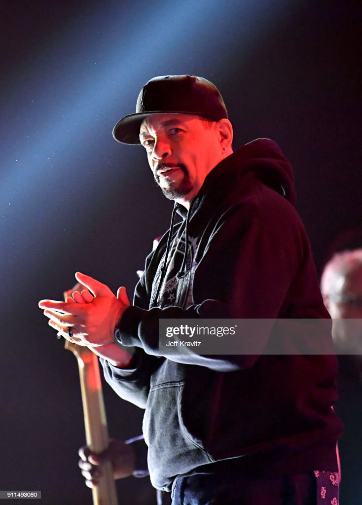 Recording artist Ice-T of musical group Body Count performs at the premiere ceremony during the 60th Annual GRAMMY Awards at Madison Square Garden on January 28, 2018 in New York City.