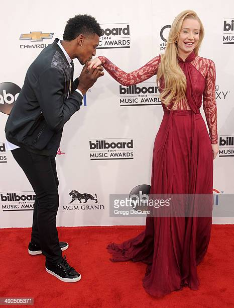 Recording artist Iggy Azalea and NBA player Nick Young arrive at the 2014 Billboard Music Awards at the MGM Grand Garden Arena on May 18 2014 in Las...