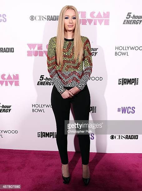 Recording artist Iggy Azalea poses backstage during CBS Radio's We Can Survive at the Hollywood Bowl on October 24 2014 in Los Angeles California