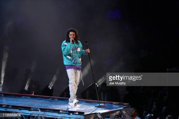Recording artist J Cole performs at halftime during the 2019 NBA AllStar Game on February 17 2019 at the Spectrum Center in Charlotte North Carolina...
