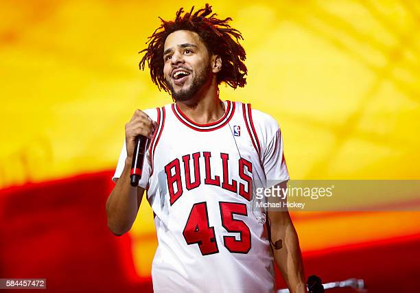 Recording artist J Cole performs on day one of Lollapalooza on July 28 2016 in Chicago Illinois