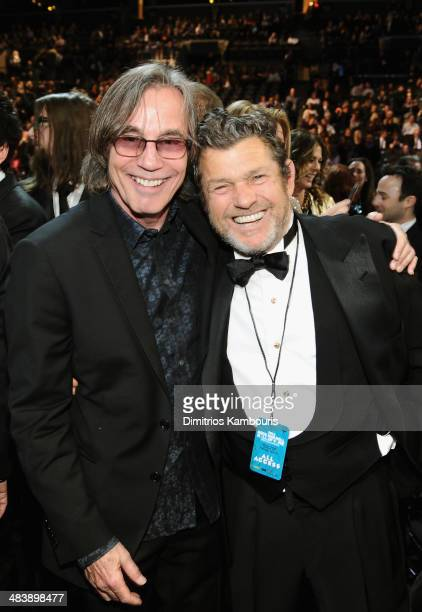 Recording artist Jackson Browne and founder of Rolling Stone magazine Jann Wenner attend the 29th Annual Rock And Roll Hall Of Fame Induction...