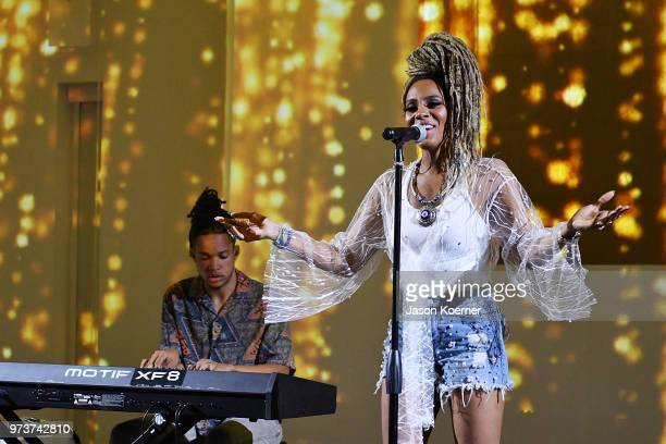 Recording artist Jade Novah performs at Cadillac Welcome Luncheon At ABFF Black Hollywood Now at The Temple House on June 13 2018 in Miami Beach...